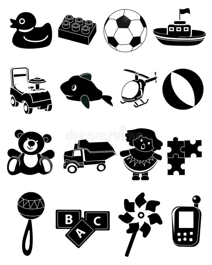 Zwarte geplaatste speelgoedpictogrammen stock illustratie