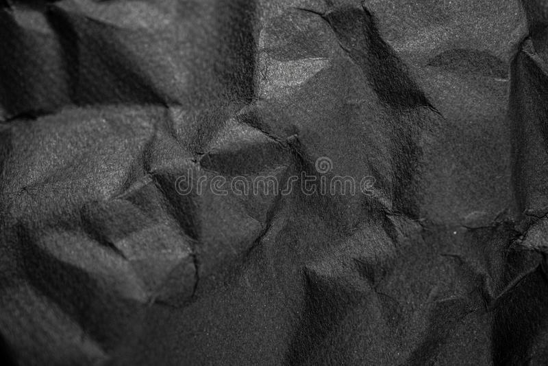 Zwarte gerimpelde document textuur voor u ontwerpachtergrond royalty-vrije stock fotografie