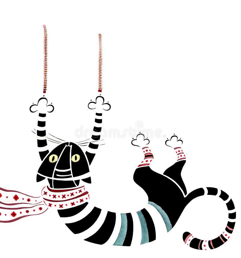 Zwarte gestreepte kat op de gordijnen vector illustratie