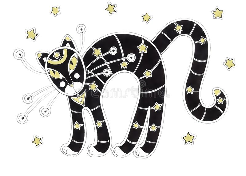 Zwarte Gestripte Kat en Sterren vector illustratie