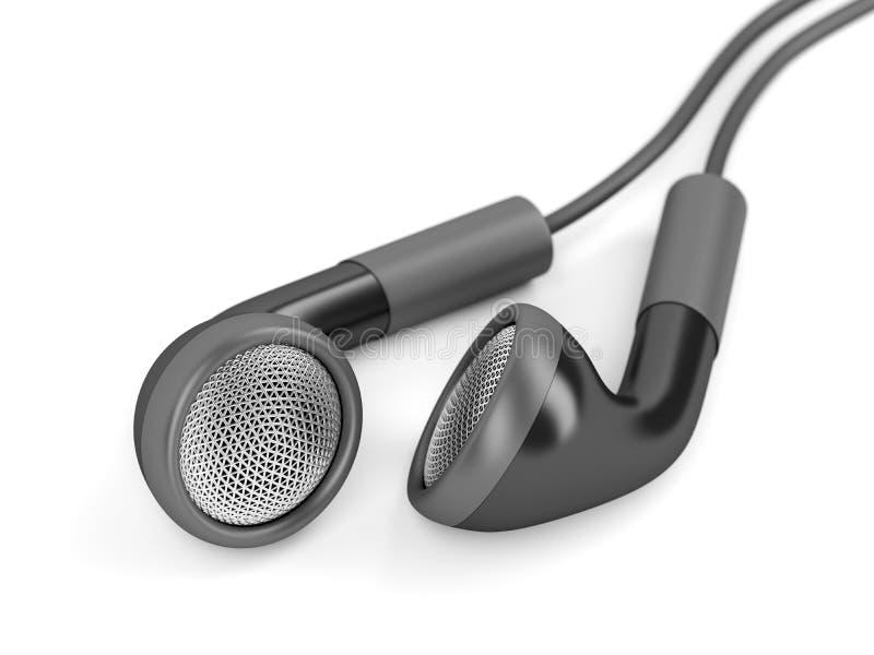 Zwarte getelegrafeerde oortelefoons stock illustratie