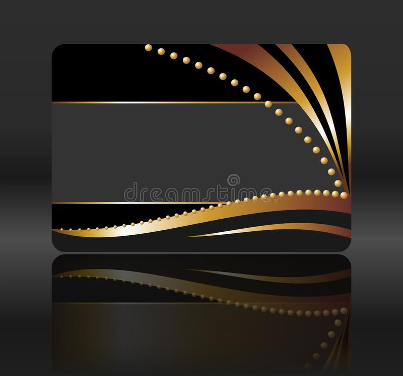 Zwarte giftkaart met gouden golven stock illustratie