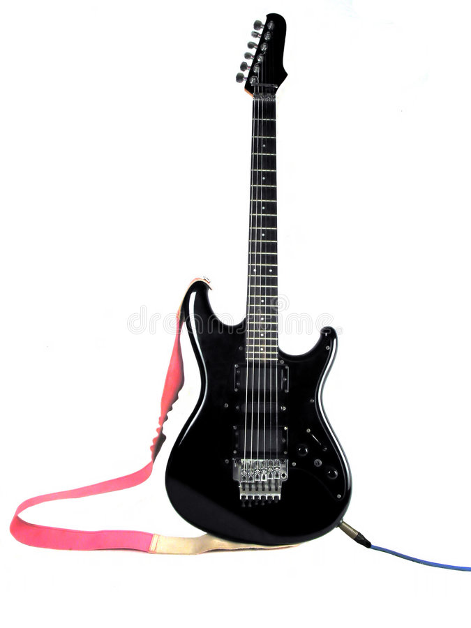 Zwarte gitaar stock foto's