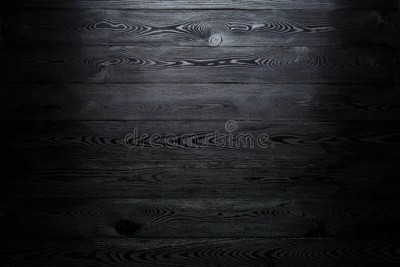 Zwarte glanzende houten abstracte achtergrond met het verdonkeren bij de randen royalty-vrije stock foto