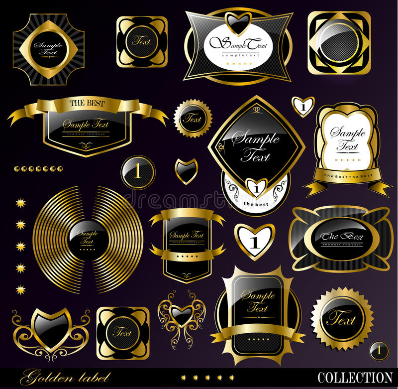 Zwarte gouden etiketten stock illustratie