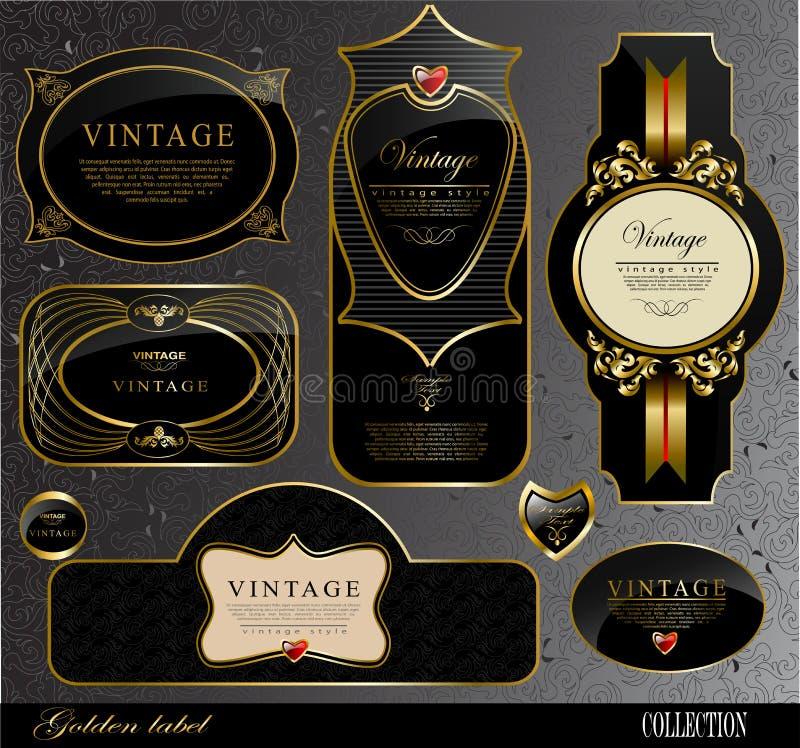 Zwarte gouden etiketten vector illustratie