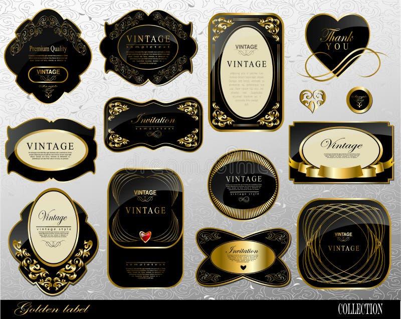 Zwarte gouden etiketten royalty-vrije illustratie