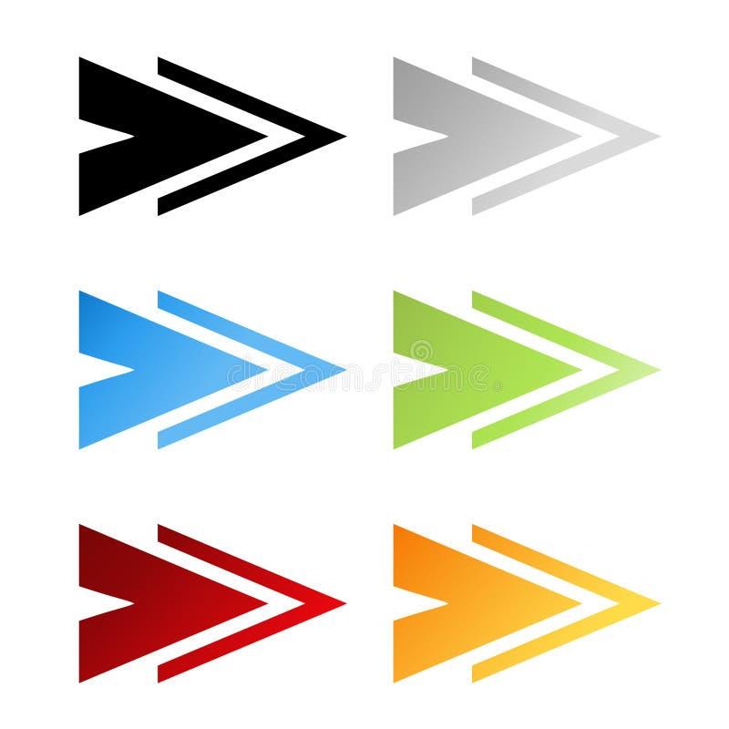 Zwarte, grijze, blauwe, groene, rode en oranje pijlsymbolen Eenvoudige pijlknopen Wijzer op Web Het teken van daarna, las meer, s vector illustratie