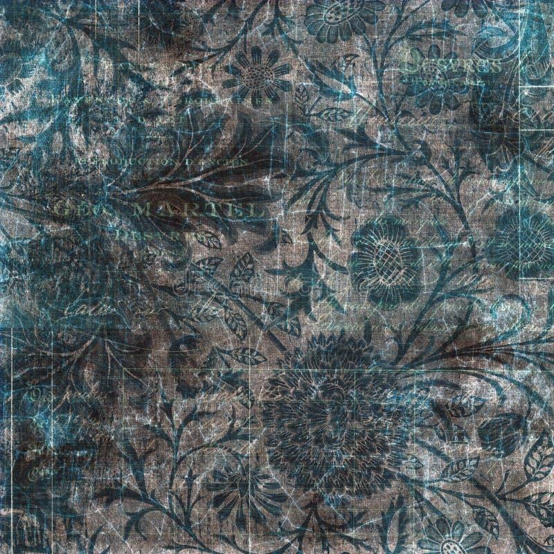 Zwarte grijze en blauwe grungy uitstekende bloemenachtergrond vector illustratie