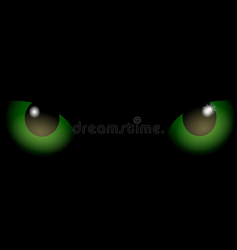 zwarte groene ogen als achtergrond stock illustratie