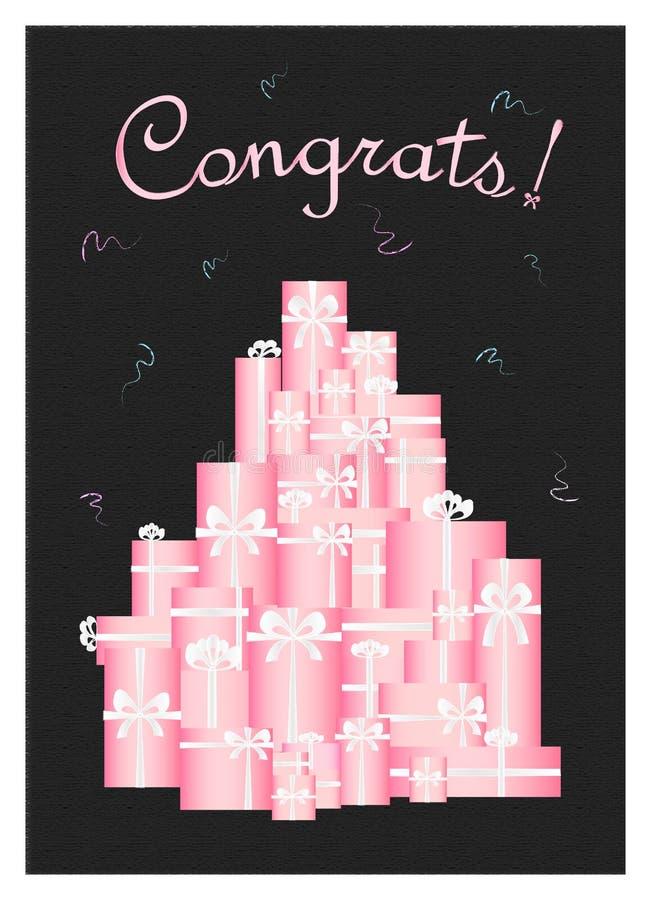 Zwarte groetenkaart met vele roze verticale giftdozen, vector illustratie