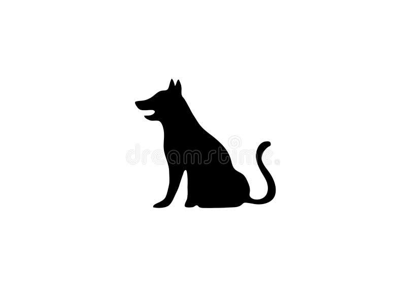 Zwarte grote hondzitting met staart op embleem stock illustratie