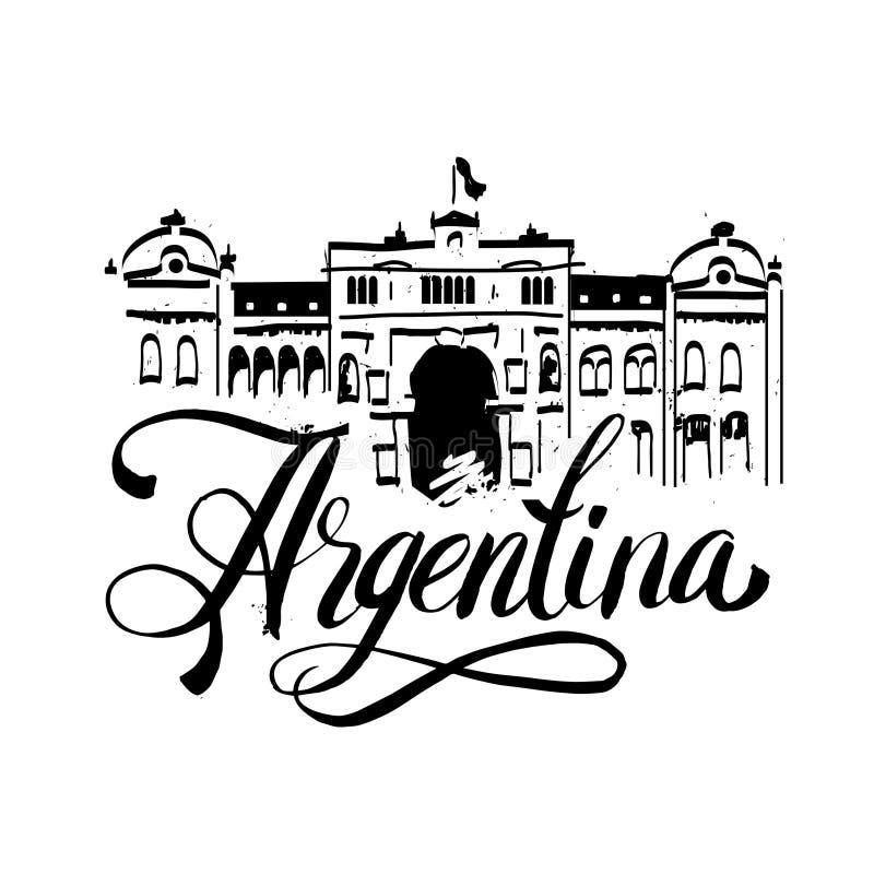 Zwarte grunge rubberdiezegel met de naam van Buenos aires de hoofdstad van Argentinië binnen de zegel wordt geschreven royalty-vrije illustratie