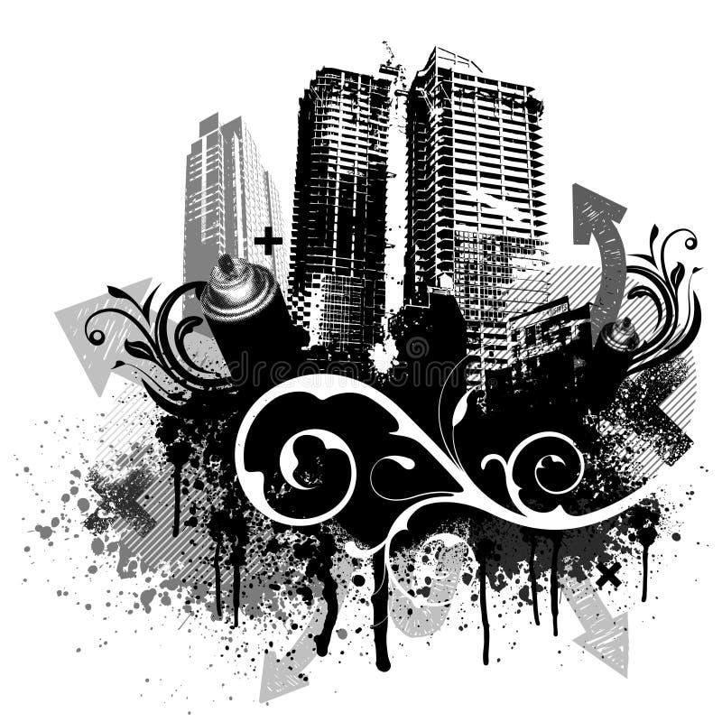 Zwarte grungestad vector illustratie