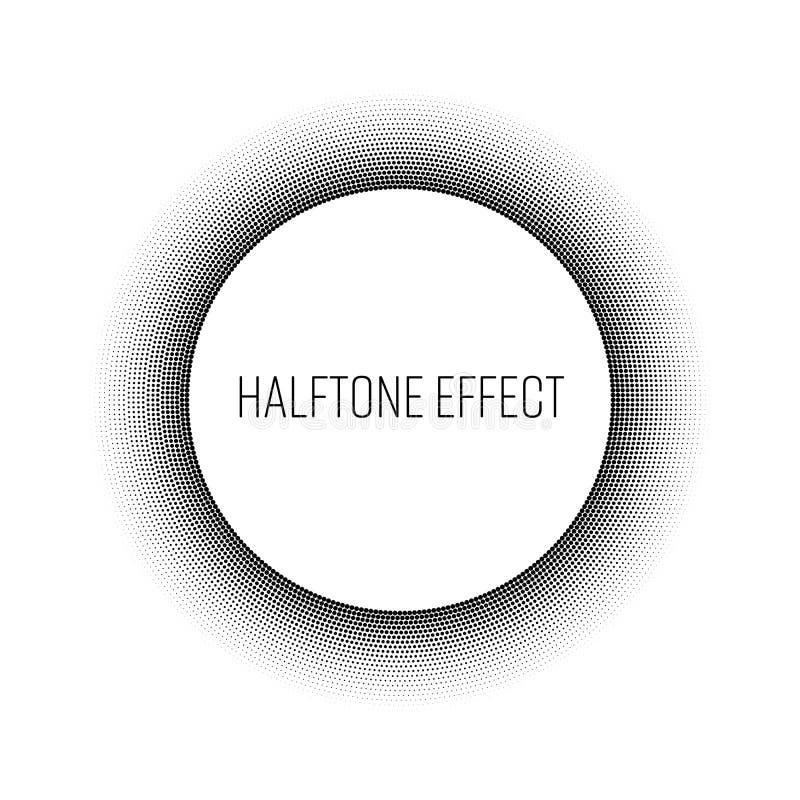 Zwarte halftone ring met wit cirkel en tekstetiket in het midden Modern abstract vectorontwerpelement royalty-vrije illustratie