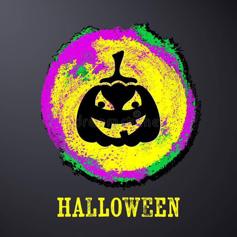 Zwarte Halloween-kaart met pompoen royalty-vrije illustratie