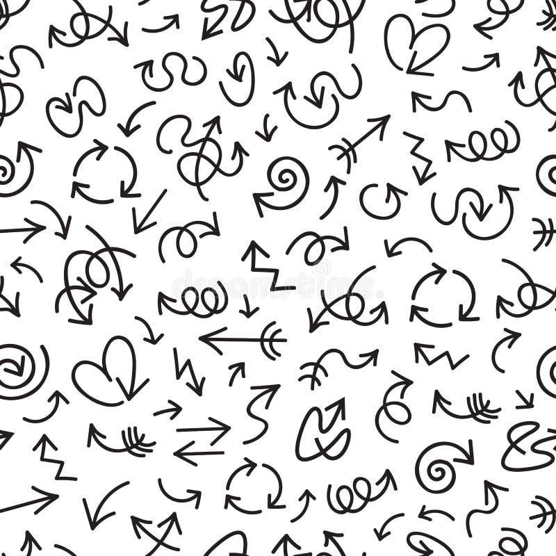 Zwarte hand getrokken pijlen op witte achtergrond Naadloos vectorpatroon stock illustratie