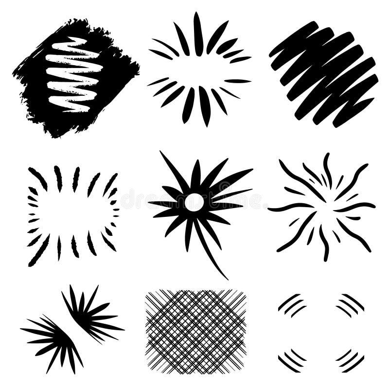 Zwarte handdrawn zonuitbarstingen Leuk krabbelgrenzen en kader op notitieboekjepagina Moderne vectorillustratie voor emblemen, te royalty-vrije illustratie