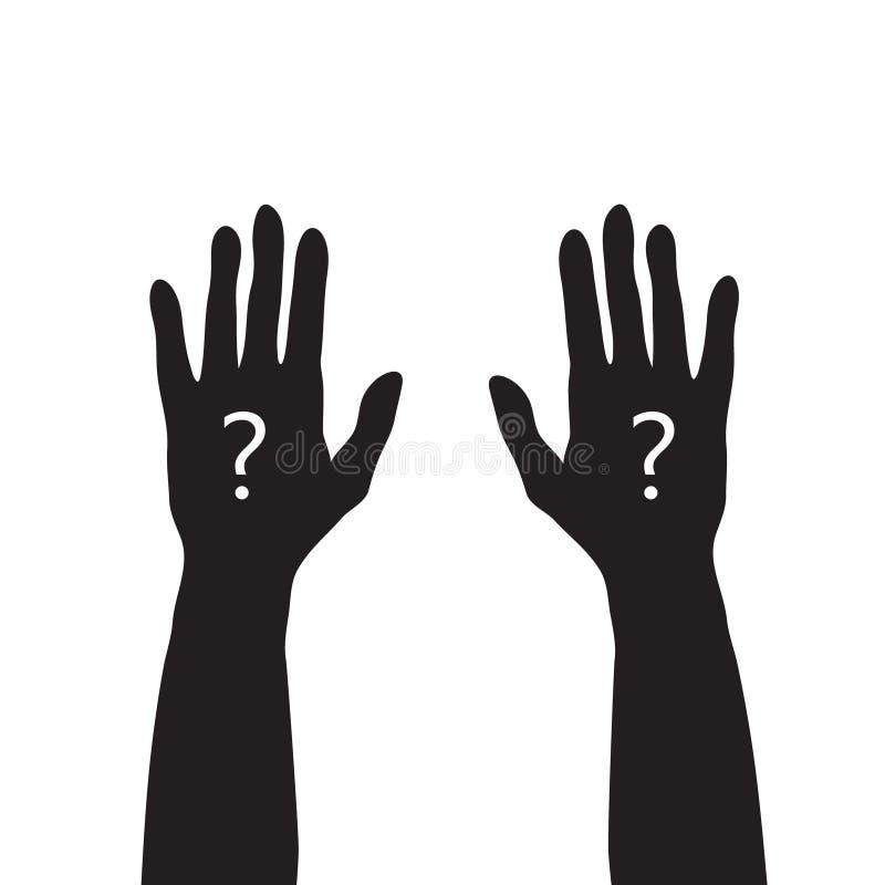 Zwarte handen omhoog met wit vraagteken, onbekend of vragend conce stock illustratie
