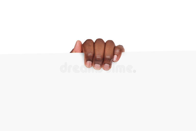 Zwarte handholding lege reclamekaart royalty-vrije stock foto