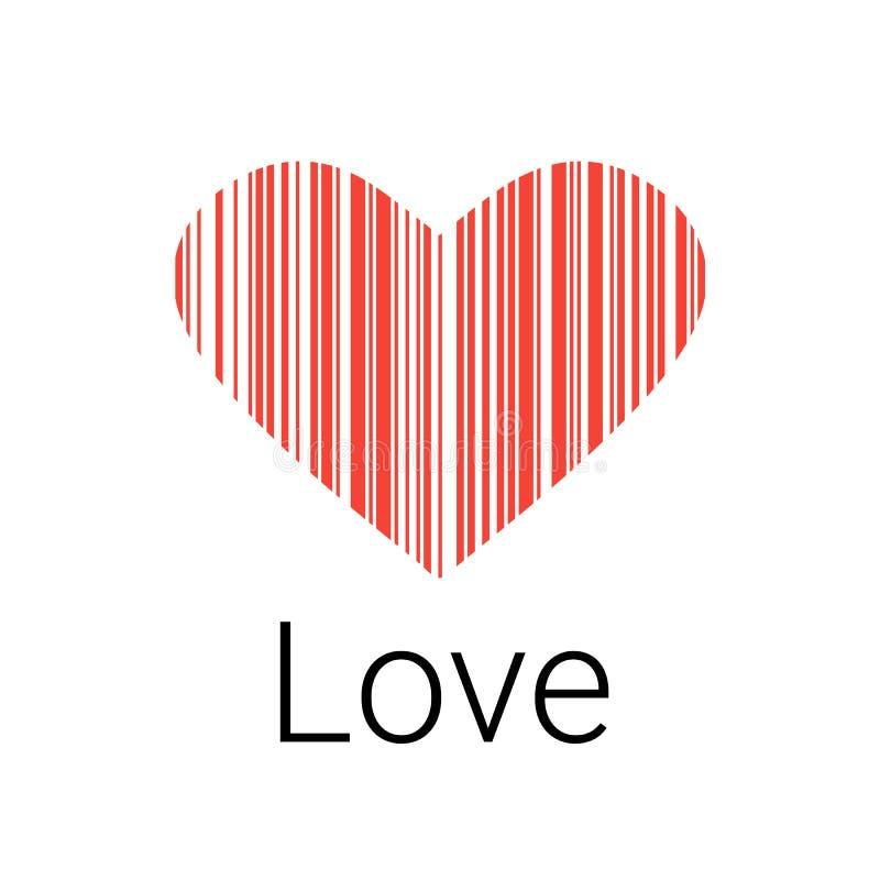 Zwarte Hartstreepjescode, pictogrammen en element voor valentijnskaarten royalty-vrije illustratie