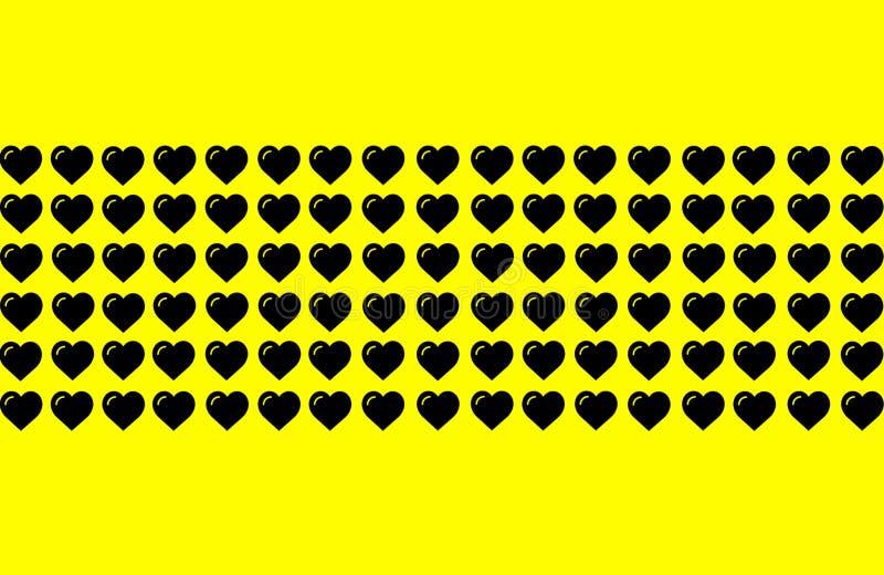 Zwarte Hartvorm op Gele Achtergrond Harten Dot Design Kan voor Illustratiedoel, achtergrond, website, ondernemingen worden gebrui vector illustratie