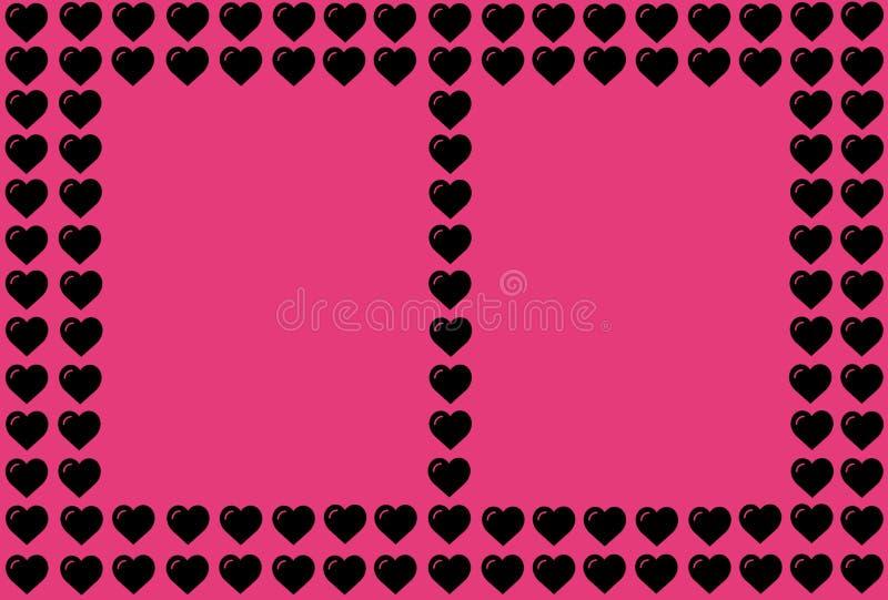 Zwarte Hartvorm op Roze Achtergrond Harten Dot Design Kan voor Artikelen, Druk, Illustratiedoel, achtergrond worden gebruikt, stock illustratie