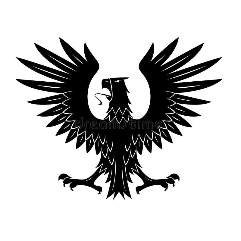 Zwarte heraldische adelaar met uitgespreid vleugelssymbool royalty-vrije illustratie