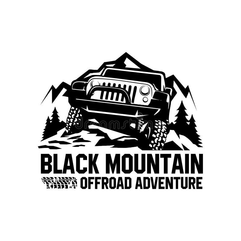 Zwarte het embleemvector van het berg offroad avontuur stock illustratie