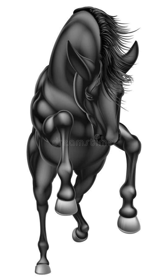 Zwarte het grootbrengen paardvoorzijde 2016 A1 royalty-vrije illustratie