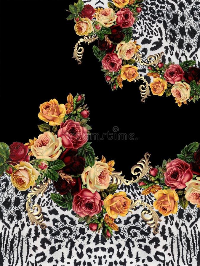Zwarte het ontwerpdruk van de bloemen dierlijke druk stock fotografie