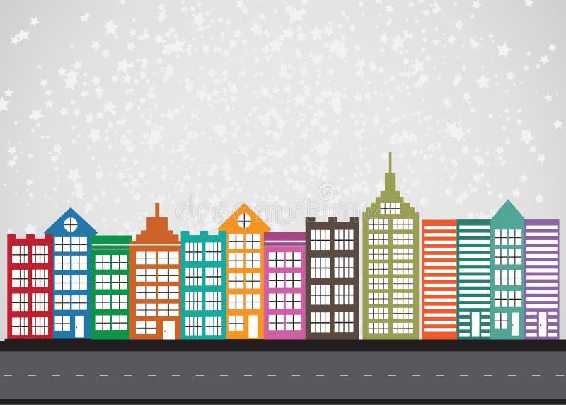 Zwarte het pictogramreeks van het stedensilhouet stock illustratie