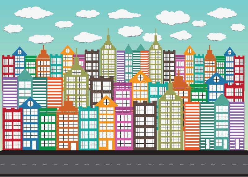 Zwarte het pictogramreeks van het stedensilhouet royalty-vrije illustratie
