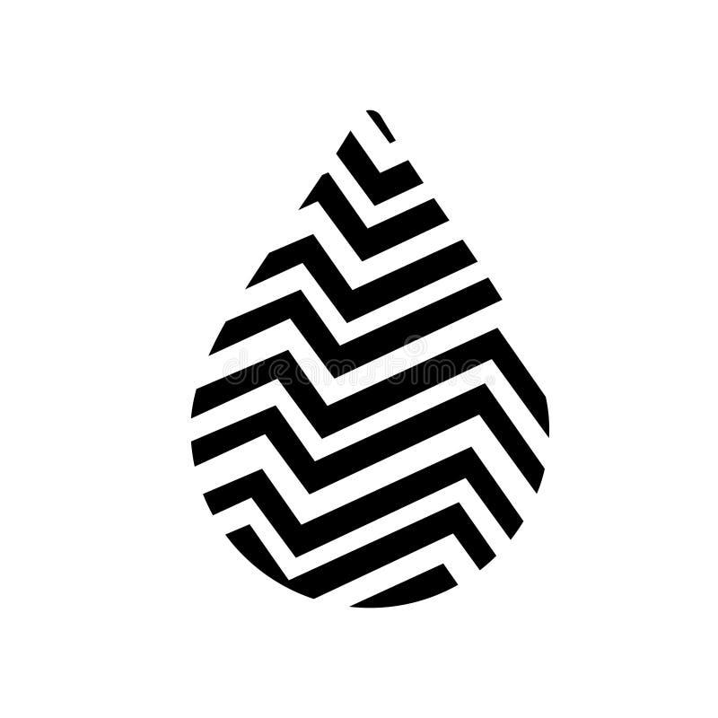 Zwarte het pictogramvector van de waterdaling, het beeld van de aquadaling, kuuroordembleem, ecosymbool, gezond teken stock illustratie