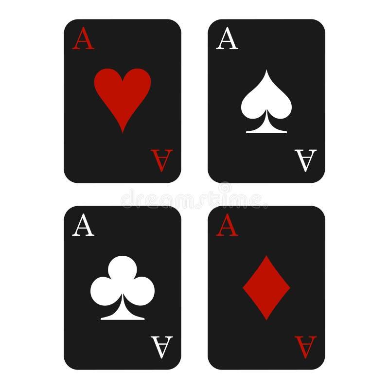 Zwarte het pictogramvector van het kaartkostuum, de vector van speelkaartensymbolen royalty-vrije illustratie