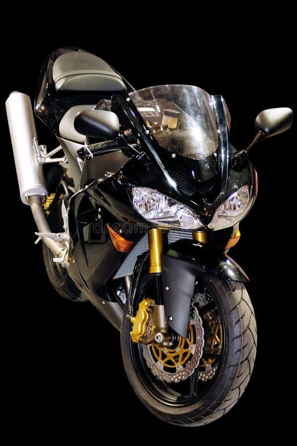 Zwarte het rennen geïsoleerde motorfiets stock afbeelding