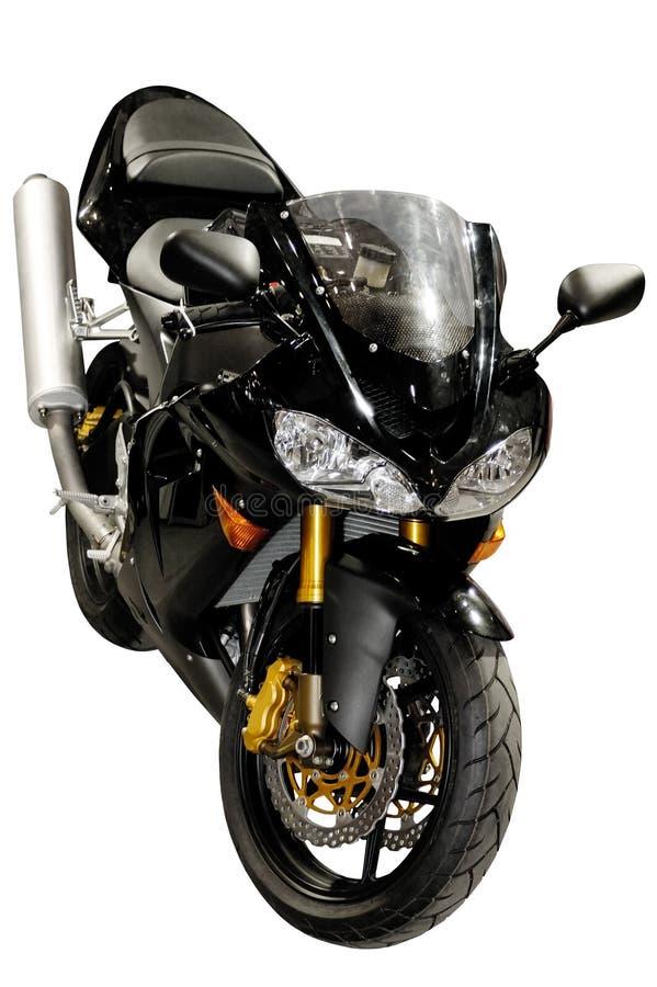 Zwarte het rennen geïsoleerder motorfiets stock afbeeldingen