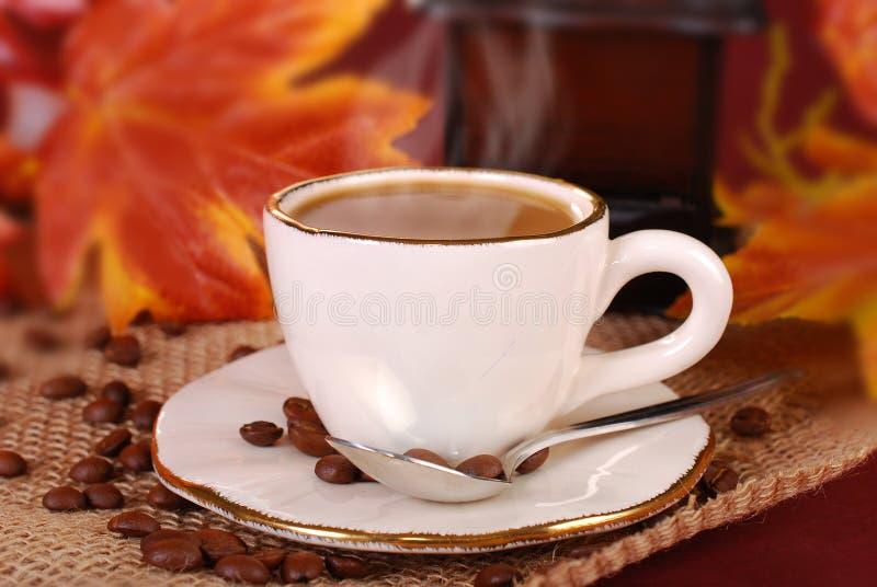 Zwarte hete koffie in witte kop voor de herfst stock afbeeldingen