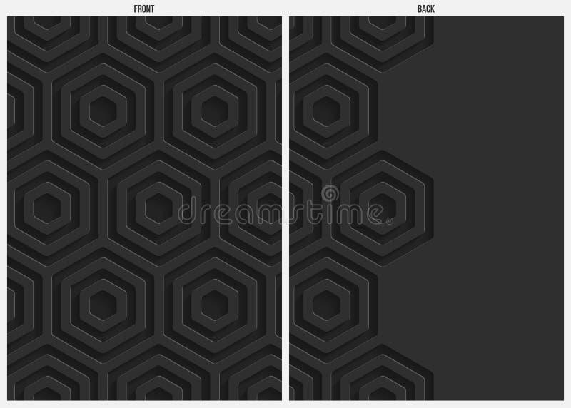 Zwarte hexagon document abstracte achtergrond, voorzijde en rug stock illustratie