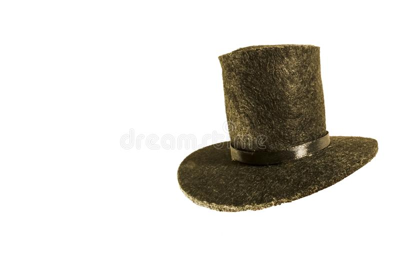 Zwarte hoed op wit geïsoleerde achtergrond Zwarte mensen` s hoed stock foto