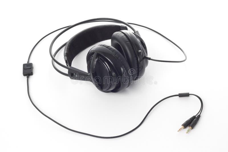 Zwarte hoofdtelefoons royalty-vrije stock afbeeldingen