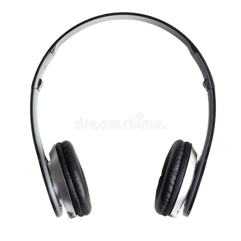 Zwarte hoofdtelefoons op witte achtergrond stock afbeeldingen