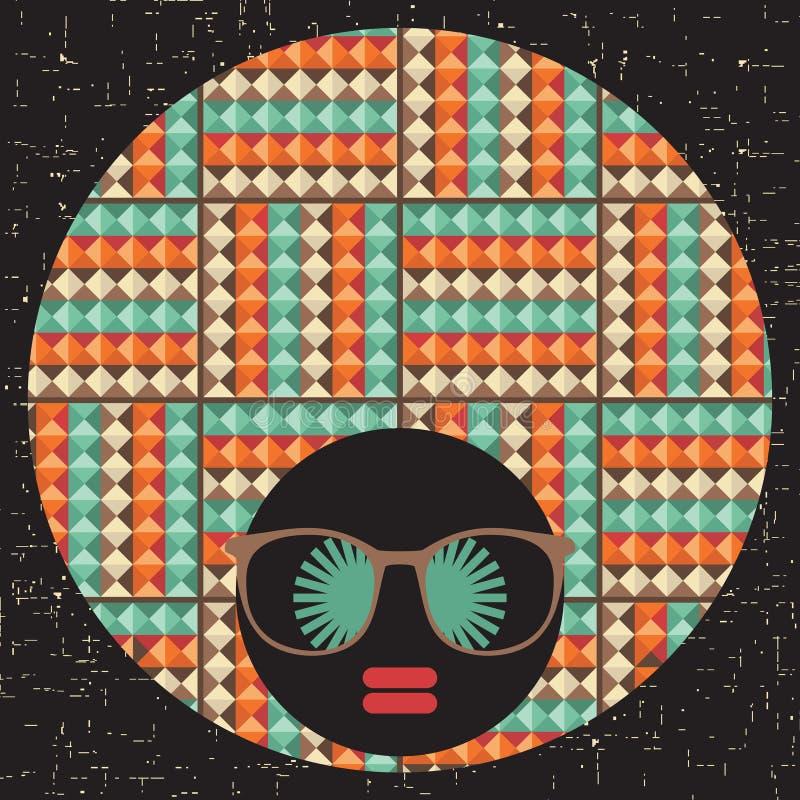 Zwarte hoofdvrouw met vreemd haar. royalty-vrije illustratie