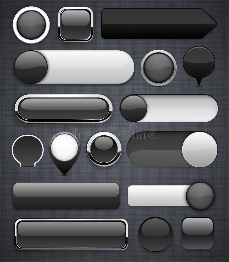 Zwarte hoog-high-detailed moderne knopen. vector illustratie