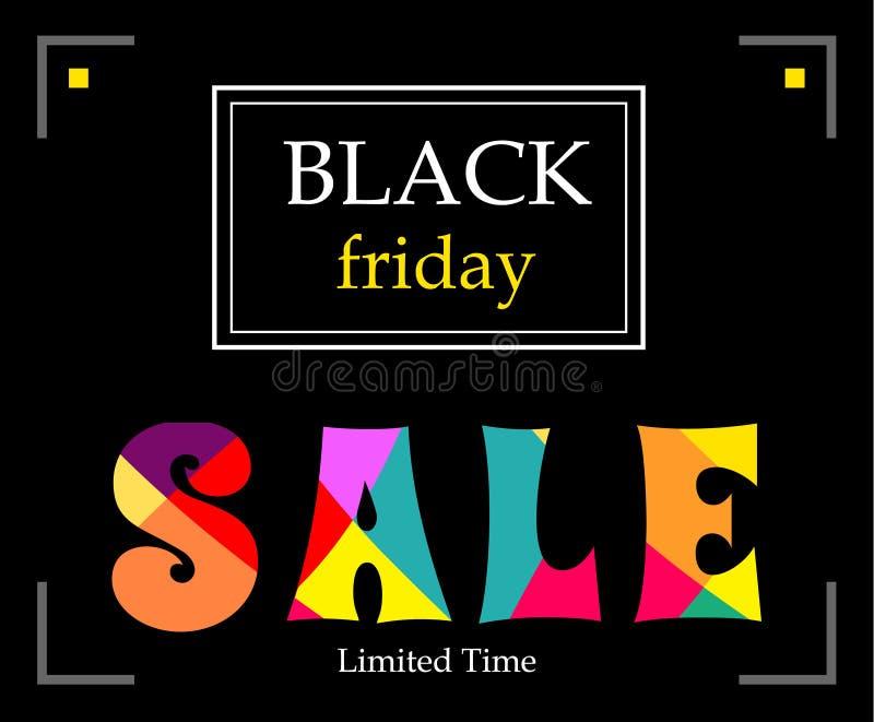 Zwarte horizontale banner met de zwarte Vrijdag van de tekstverkoop royalty-vrije illustratie