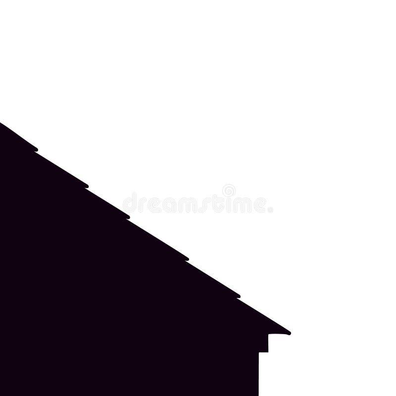 Zwarte housetop weinig huis Dak Het vectorabstractieonthaal op dakwerk werkt illustratie stock illustratie