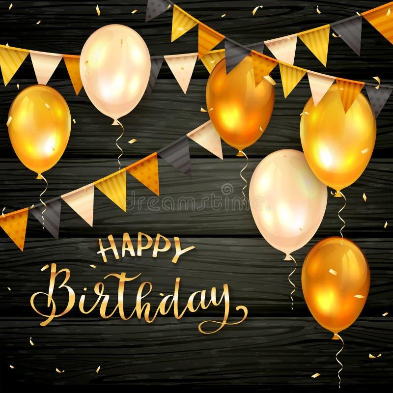 Zwarte Houten Achtergrond met Gouden Verjaardagsballons en Wimpels stock illustratie