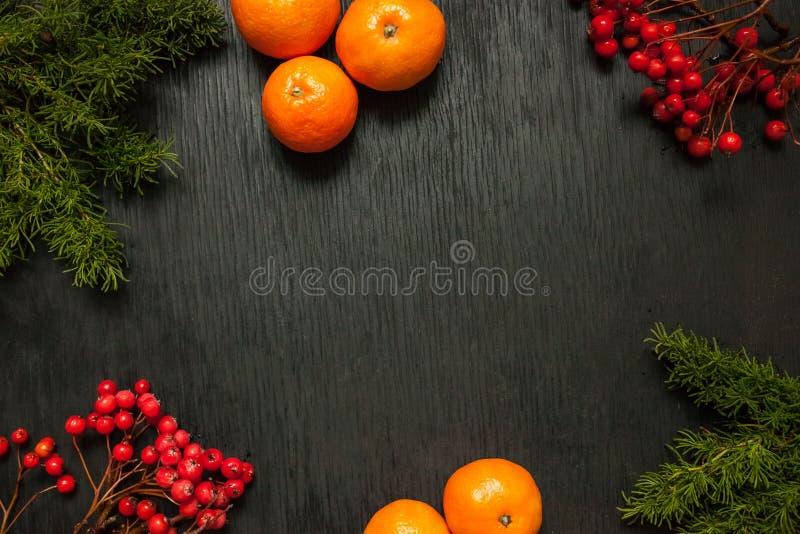 Zwarte houten achtergrond met mos en as en mandarijnen bij royalty-vrije stock afbeeldingen