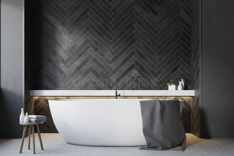 Zwarte houten badkamers, ronde ton dichte omhooggaand vector illustratie