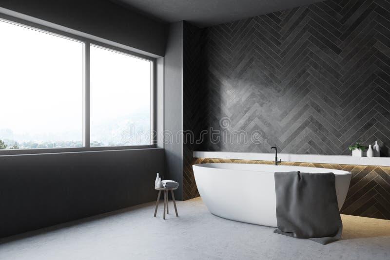 Zwarte houten badkamershoek, ronde ton royalty-vrije illustratie